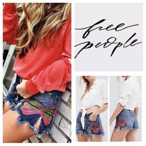 Free People Fields Of Sun Painted Denim Shorts NWT